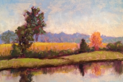 Field of Corn reflecting in pond-pastel Tanger