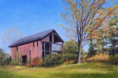 Old Red Barn in Fall-oil Tanger