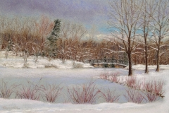 frozen pond with bridge-pastel Tanger