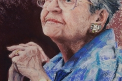Portrait of Elderly Woman in Blue-pastel Tanger
