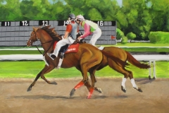 oil painting of race horse cooling out at the track with outrider on pony